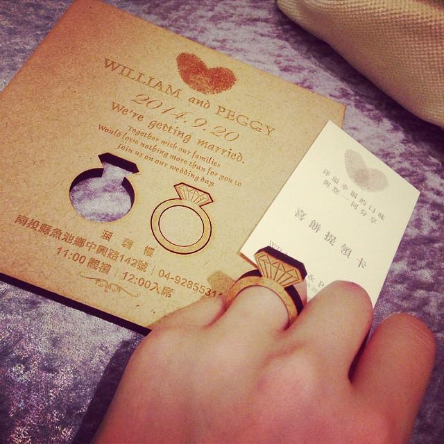 My wedding║大受好評。詢問度超高的木製鑽戒喜帖♥